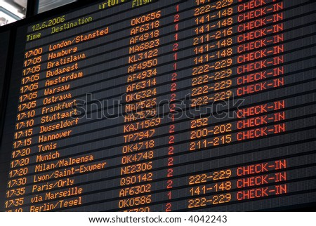 Airport departure board information - stock photo