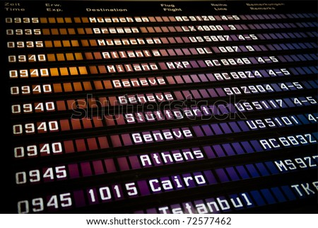Airport departure display - stock photo