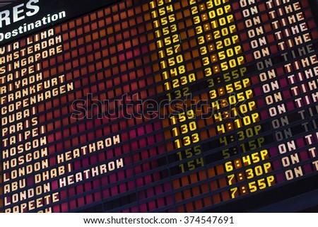 airport departure schedule board.  Los Angeles International Airport - stock photo