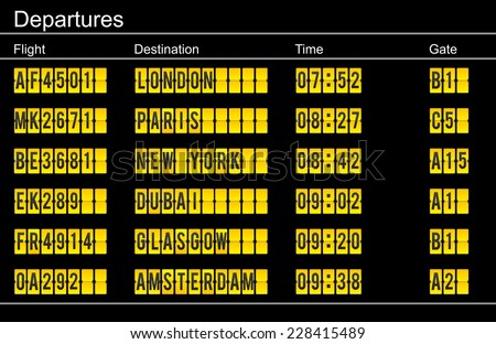 airport departure sign - yellow mechanical letters on black background - stock photo