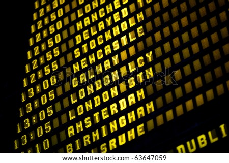 Airport departure timetable detail - stock photo