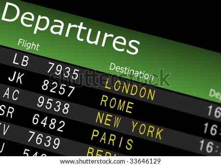 Airport Departures Board - stock photo