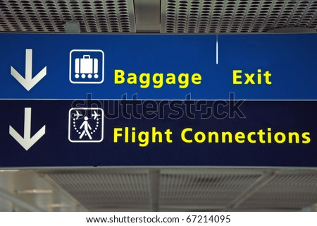 Airport direction flight connection, baggage and exit sign - stock photo