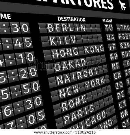 Airport electronic flip-flap board departure arrival and delay flight status information black digital display perspective  illustration - stock photo