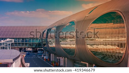 Airport exterior architecture - stock photo