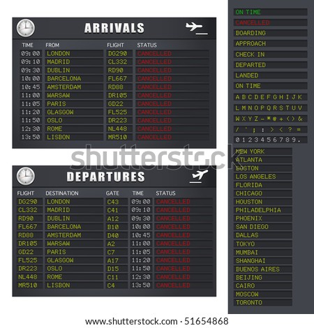 Airport flight information board showing cancelled flights.  A vector illustration version of this image is also available in my portfolio.