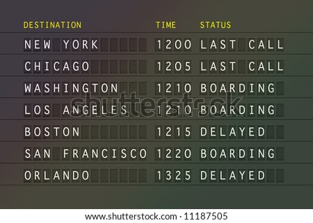 Airport flight information board showing USA destinations. Computer generated illustration. - stock photo