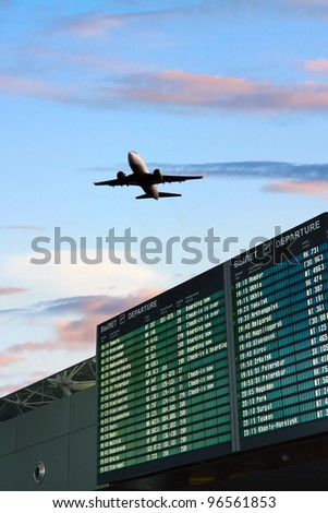Airport flight information with the list of flights - stock photo