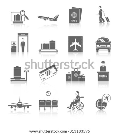Airport flight terminal passenger security icons black set isolated  illustration