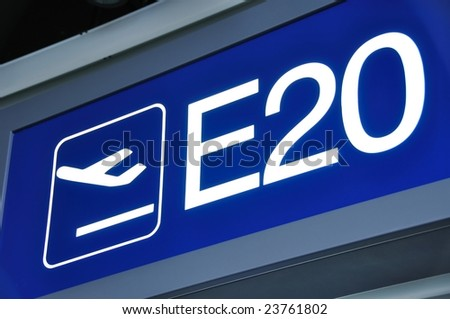 Airport gate sign - stock photo