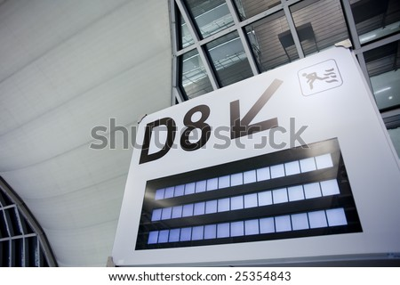 Airport Gate Signage at Thailand Suvarnabhumi Airport - stock photo