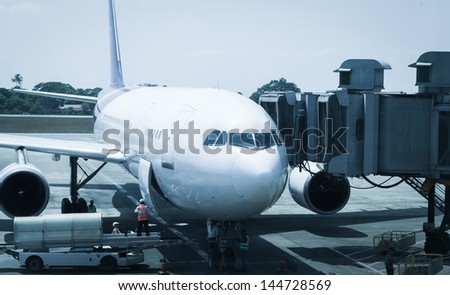 airport ground crew service - stock photo