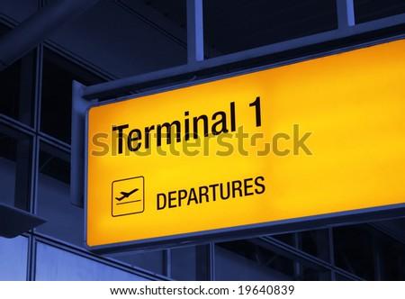 airport guide-board - stock photo