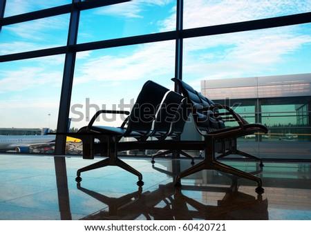 airport interior at morning - stock photo