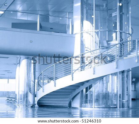 Airport interior, filtered toned image - stock photo