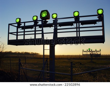 Airport lights - stock photo