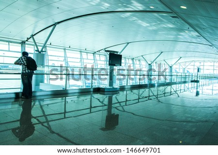Airport lobby waiting for a flight passengers - stock photo