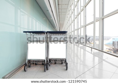 Airport Luggage Cart with empty copy space, shot in asia, china - stock photo