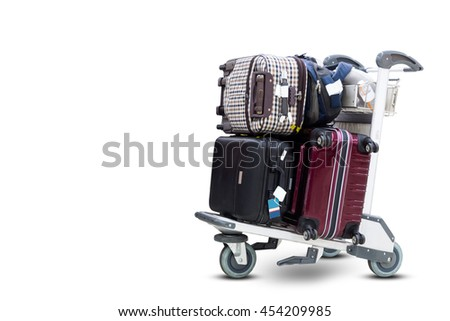 Airport luggage Trolley with suitcases on white background with clipping path - stock photo