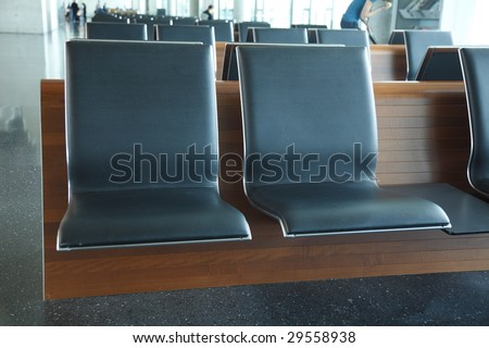 Airport, modern designed waiting area - stock photo