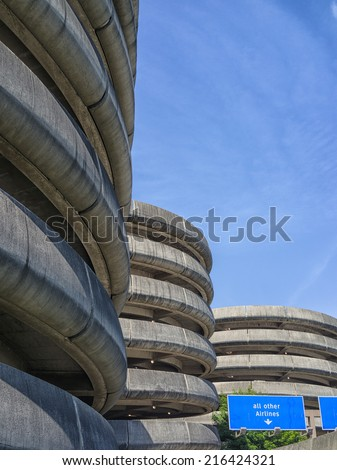 Airport parking buildings, Seattle - stock photo