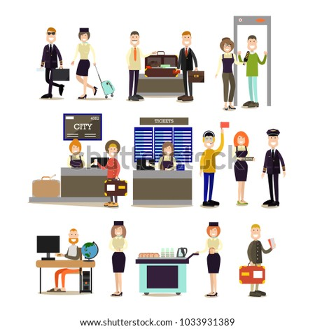 Airport people icon set with pilot, stewardess, ticket counter, ramp agent and passengers making online ticket reservation, passing security checkpoint at airport terminal. Flat style design.