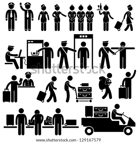 Airport Pilot Captain Air Hostess Stewardess Security Officer Foreigner Immigrant Visitor Tourist Passenger Stick Figure Pictogram Icon - stock photo