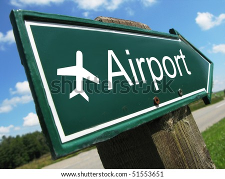 AIRPORT road sign - stock photo