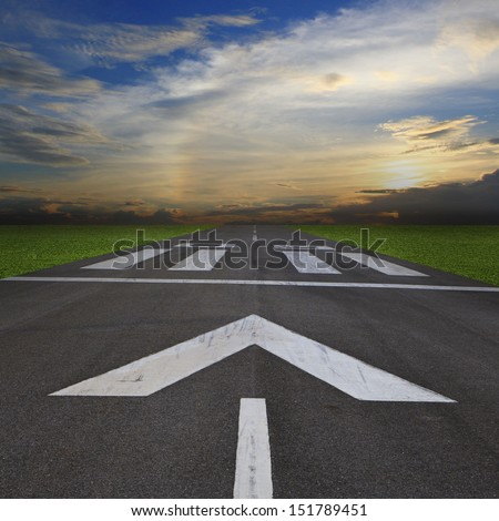 airport runway at dusk or dawn, background - stock photo