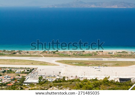 airport runway by sea in island of Rhodes, Greece