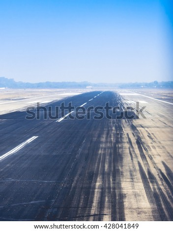 Airport Runway. Travel and Aviation abstract instagram processing - stock photo