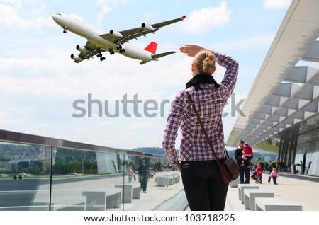 Airport scene - stock photo