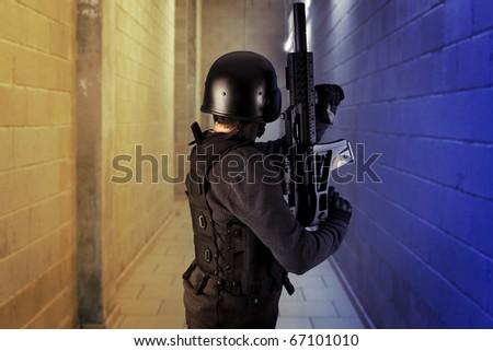 Airport security, armed police wearing bulletproof vests - stock photo