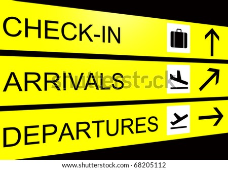 airport sign, arrivals, departure, check in - stock photo