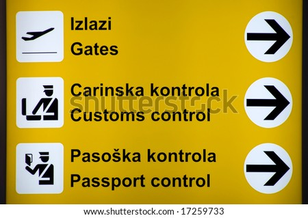 Airport sign - Flight Information Board - stock photo