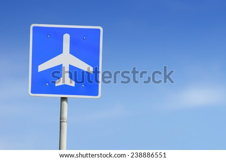 Airport sign sky background. - stock photo
