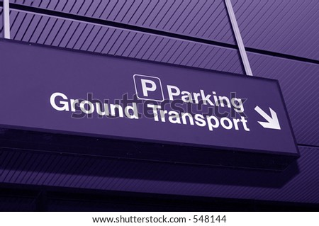 Airport sign to parking - stock photo