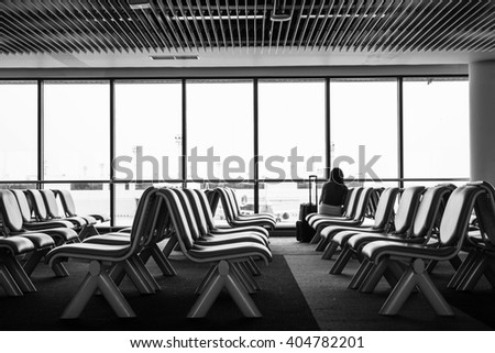 airport sitting black and white color - stock photo