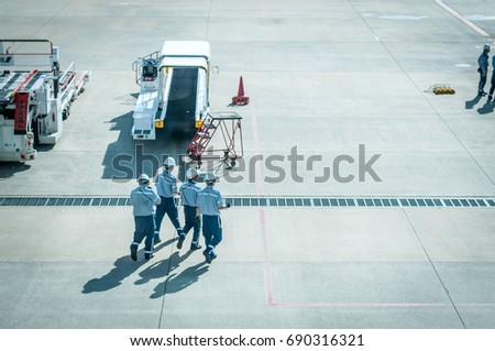 Airport staff during working period at the Fukuoka international airport