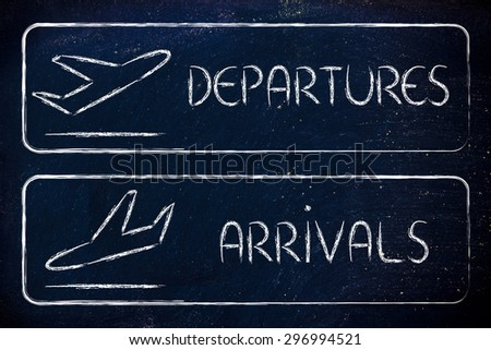 airport style signs indicating departures and arrivals - stock photo
