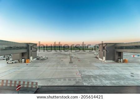 airport terminal - stock photo
