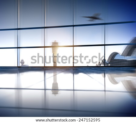 Airport Terminal Aerospace Industry Flight Airplane Concept - stock photo