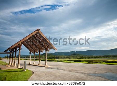 Airport terminal and Beautiful runway in the afternoon - stock photo