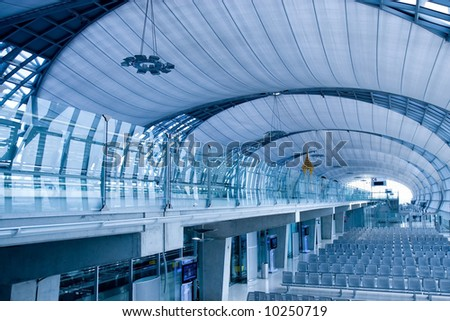 Airport terminal waiting room lounge. - stock photo