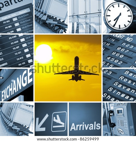 Airport theme mix composed of different images holiday, luggage, travel, travelling, trolley, airport, baggage, cart - stock photo