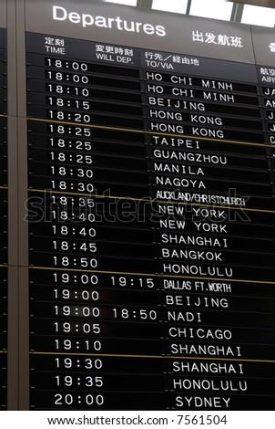 Airport timetable - stock photo