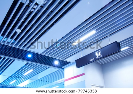 Airport toilets sign (male, female) - stock photo