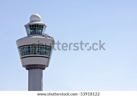 Airport tower at Schiphol airport in the Netherlands