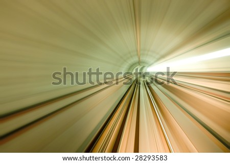 Airport Transit. Photo looking in front of an airport train. - stock photo