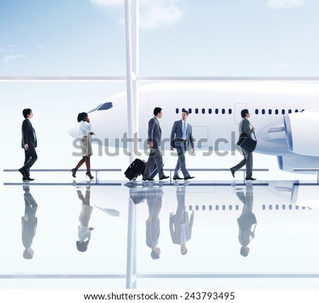 Airport Travel Business People Trip Transportation Airplane Concept - stock photo